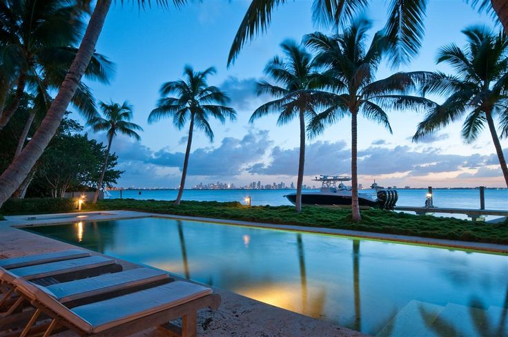 View to the Bay at Night. 5800 N Bay Road Estate in #MiamiBeach, #Florida. #JLo #Luxury