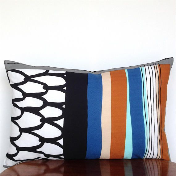 Scandinavian Pillow Cover. Black and White Pillow. by OnHighat5