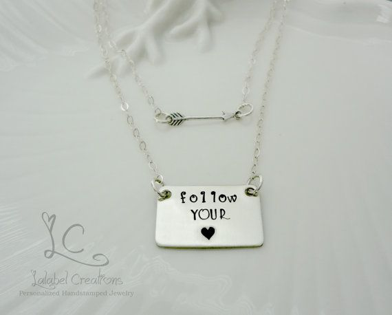 Hand Stamped Layered Necklace Two Sterling by LalabelCreations