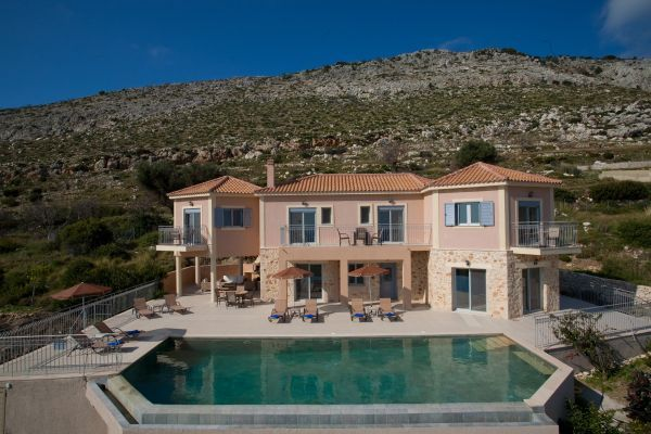 Villa Estiasi is an impressive, spacious family home set in an elevated position, high above the resort of Skala in Kefalonia with breathtaking panoramic Ionian sea views across to nearby Greek Islands