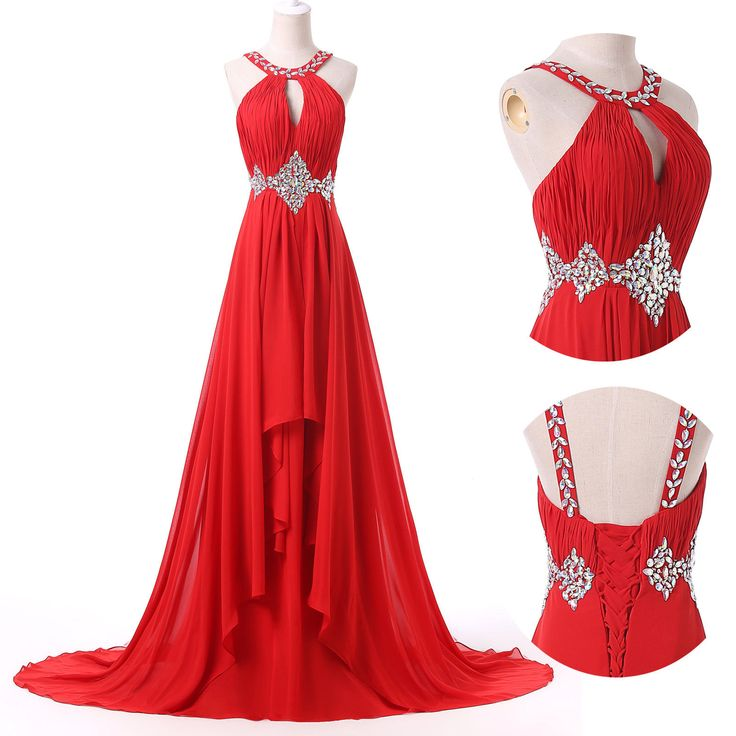 Red Beaded Plus Size Long Evening Prom Party Cocktail Homecoming Wedding Dress