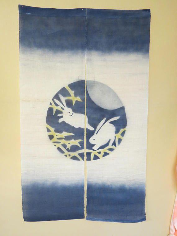 NOREN CURTAIN HEMP Japanese Vintage Noren Curtain Room Divider