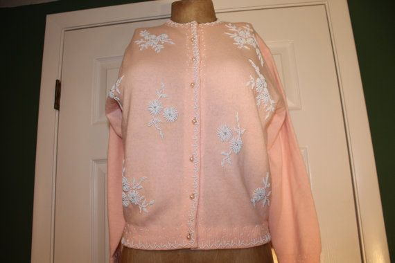 50s 60s Mid Century PASTEL PINK CARDIGAN Sweater Charles & Co