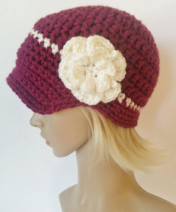 Women's crochet hat with brim women's visor hat by ChildCrochet, $23.00