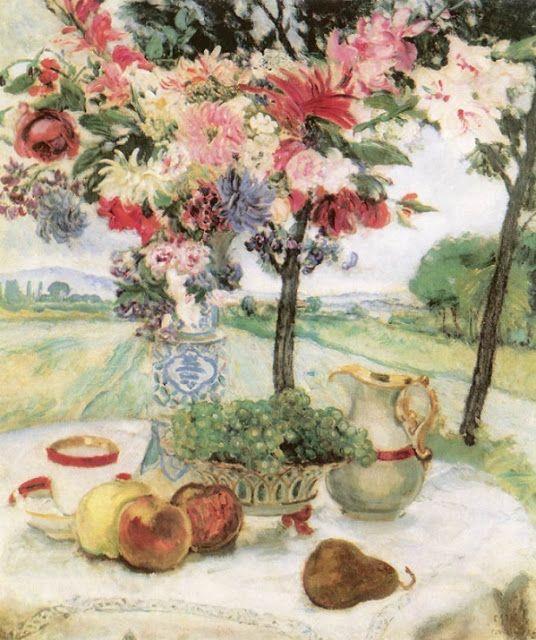 Still Life with Flowers  1913  István Csók (1865-1961) Hungarian Impressionist artist