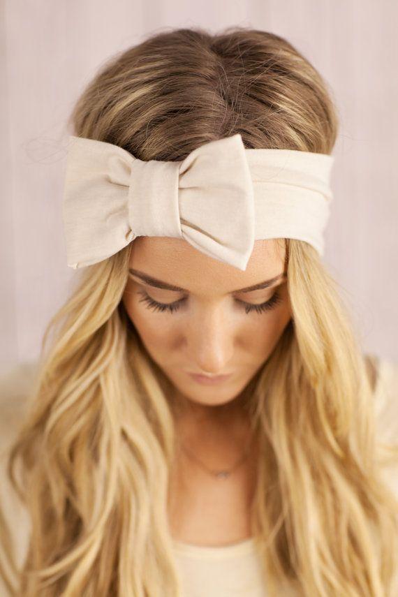 Ivory Bow Headband Oversized Ivory Bow Women's Hair Band Stylish Fashion Turban Wide Jersey Handmade Hair Fashion Headband