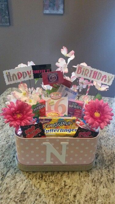 Sweet 16th birthday gift basket :)