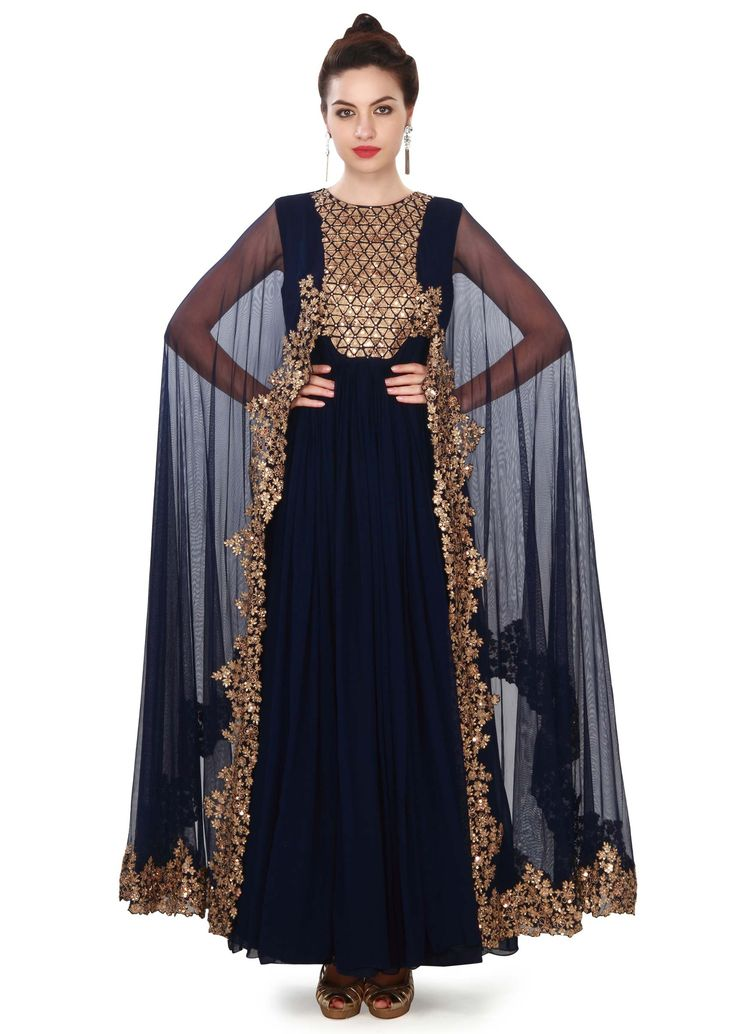 ‌Navy blue suit adorn in sequin and attach cape only on Kalki