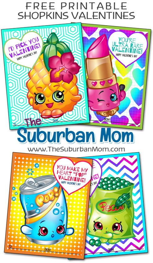 Get ready for Valentine's Day with free Shopkins Valentines printable cards. Easy non-candy Valentines idea for girls.
