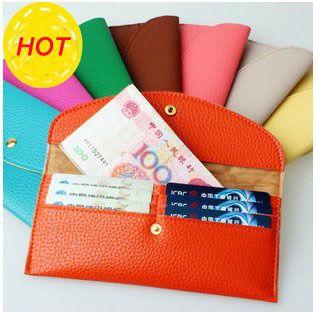2013 Women Wallet female long design coin purse card holder envelope bag candy color female bags $4.44
