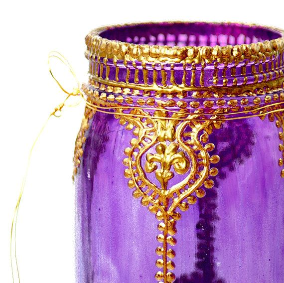 Boho Style, Hand Painted Mason Jar Lantern, Violet Glass with Gold Accents