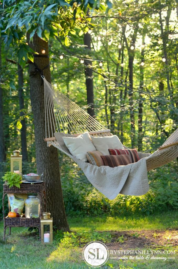 Backyard Hammock | How to create an outdoor getaway space -  @Stephanie Lynn @Cost Plus World Market #SummerFun