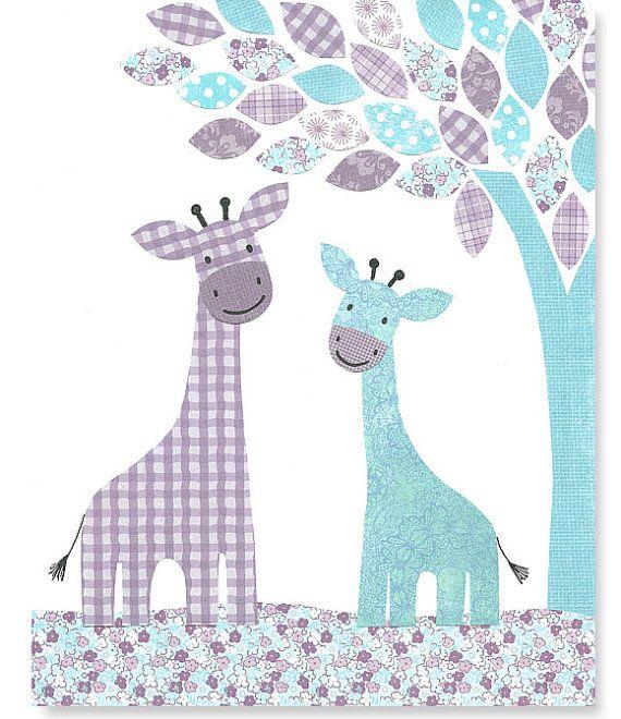 Nursery Art Print Giraffe Decor Aqua and by SweetPeaNurseryArt, $15.00