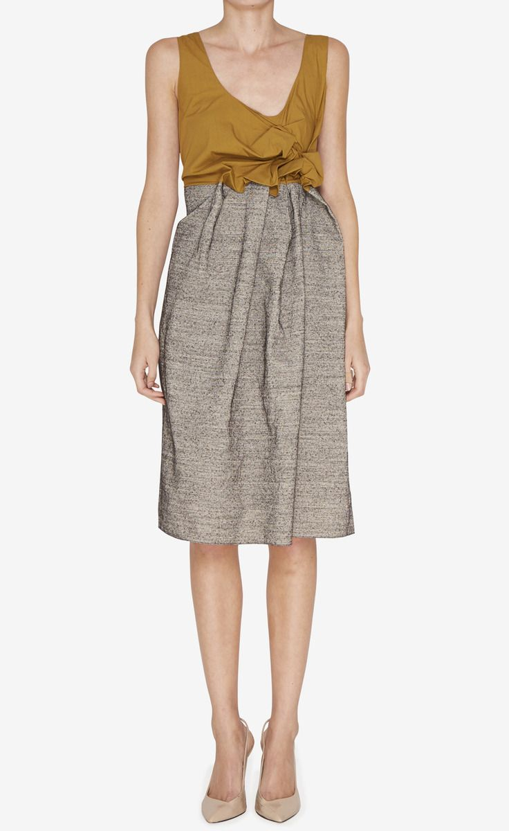Marni Taupe And Mustard Dress | VAUNTE