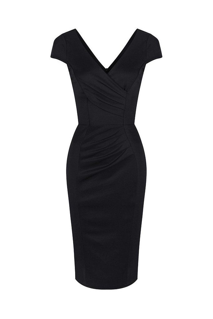 Black Capped Sleeve Bodycon Wiggle Dress