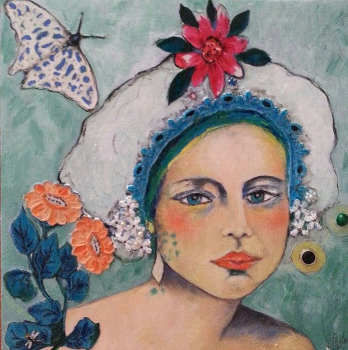 Lynne Mettam Emma Oil /Mixed Media on board $320  A young woman wearing a pretty Victorian cap appealed to me as being rather sweet faced and calm. My portraits are sometimes taken from Vintage photos of ladies of earlier times, a remembrance of women in more tranquil days when femininity was decked in lace and flowers and somewhat coquettish in style.