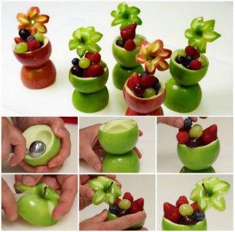 DIY Pretty Apple Flower Fruit Cups