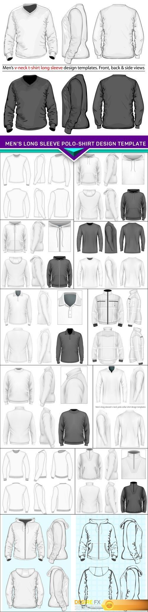 Find your Grapfix Desire With US http://www.desirefx.me/mens-long-sleeve-polo-shirt-design-template-12x-eps/