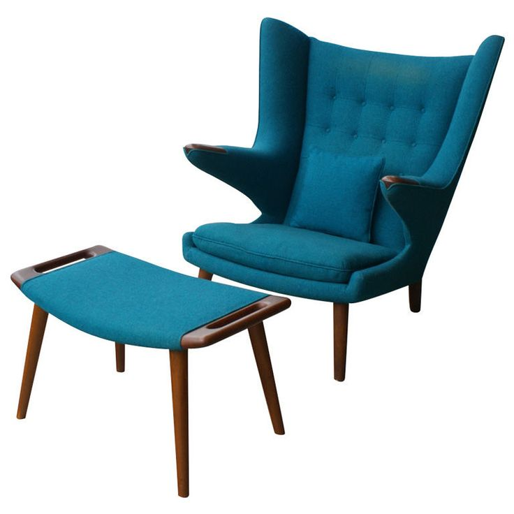 Hans Wegner papa bear chair and ottoman in my favorite shade of blue.