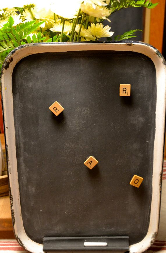Great message center! Magnetic and a Chalkboard!  Magnetic Chalk Board Enamel Tray by Homeroad on Etsy, $25.00