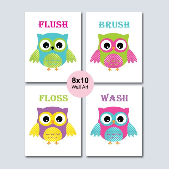 Owl Bathroom Wall Art Owl Wall Art Owl Kids By SweetBloomsDecor