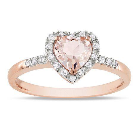10K Rose Gold Morganite and Diamond Heart Ring