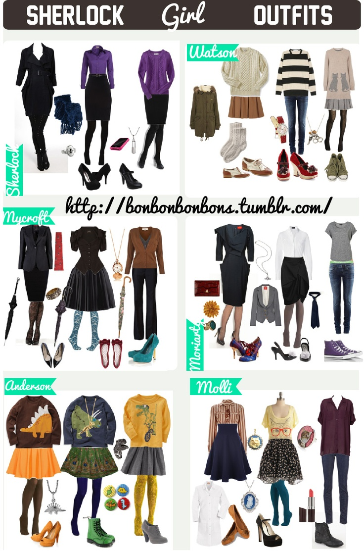 Sherlock girl outfits. NOT MINE, I found this awesome outfits in http://bonbonbonbons.tumblr.com/ , I just put everithing together and pimped it a little x) ~ (Anderson's reminds me of Mrs. Hudson .-.)