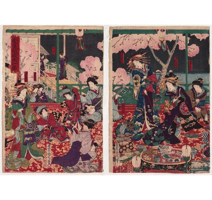 """Twee originele deluxe woodblock worden afgedrukt """"Courtisanes in Yoshiwara theehuis"""" door Toyohara Kunichika (1835-1900) - Japan - ca. 1885  Twee grote originele Japanse Woodblock prenten met """"Courtisanes in Yoshiwara theehuis"""" door Toyohara Kunichika (1835-1900).Op een washi papier (niet in grote voorwaarde) verdubbeld met een washi in het verleden wat resulteert in een zachte (onzichtbare) kreuken. Enkele lichte stof-vervuiling van de blanken) met de kleuren nog steeds sterke en…"""
