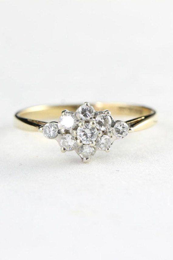 Half carat diamond cluster engagement ring in by aardvarkjewellery