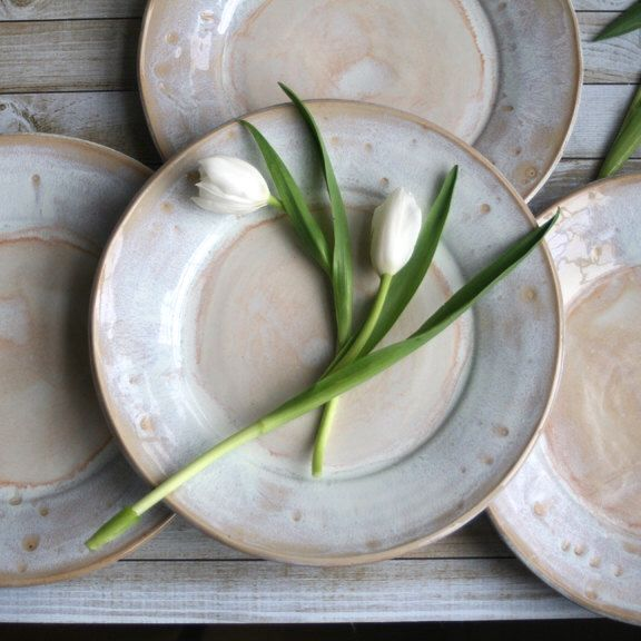 Rustic White Dinner Plates Set of Four Handmade Ceramic Dishes Stoneware Dinnerware Ready to Ship Made in USA by AndoverPottery on Etsy https://www.etsy.com/listing/270794749/rustic-white-dinner-plates-set-of-four