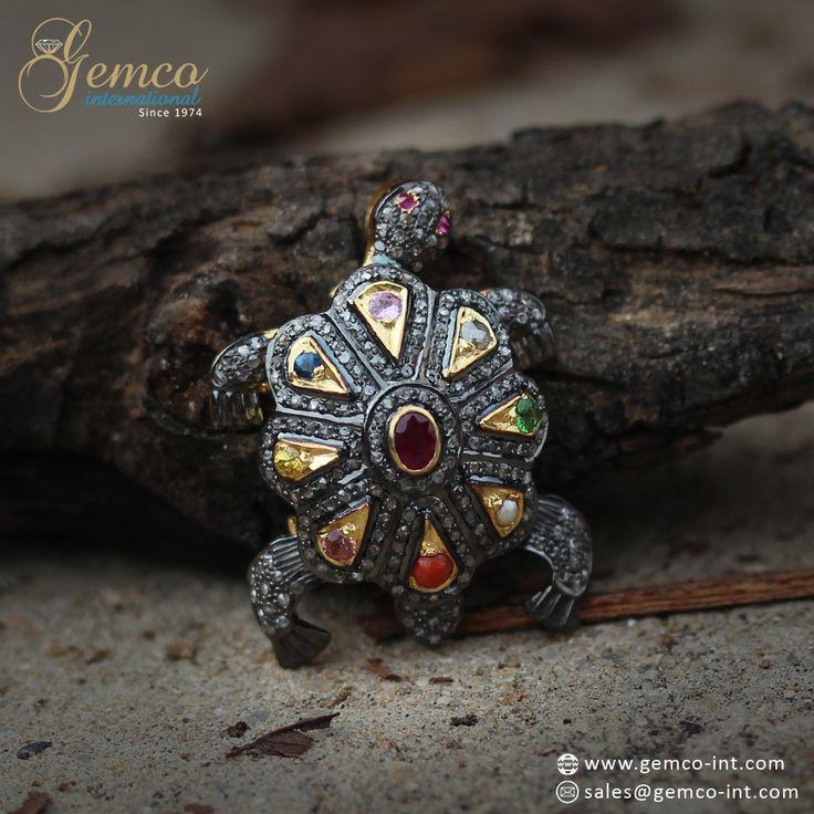 #Navratna Tortoise #Pendant   Pave Set Diamonds #Designer Navratna #Tortoise Pendant