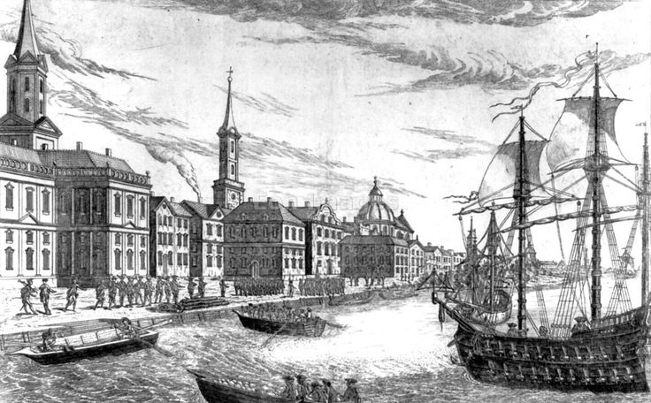 The Dutch built a little town on the southern tip of Manhattan Island. It was called New Amsterdam and it flourished by selling skins. The settlers sold otter, beaver, mink and seal skins. However New Amsterdam was a tiny town with only about 1,500 inhabitants in the mid-17th century. However some farmers cultivated the land on Manhattan and at Brooklyn. (The Bowery takes its name from Bouwerie the Dutch word for farm). Photo... new york city in 1776 disembarkation of british troops at new…