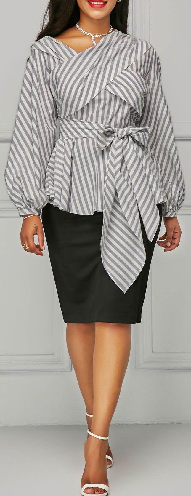 Lantern Sleeve Stripe Print Belted Blouse.