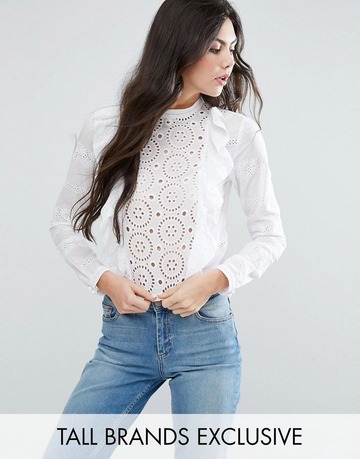 Buy it now. Glamorous Tall Broderie Ruffle Crop Top - White. Tall top by Glamorous Tall, Woven cotton, Broderie panels, Ruffle front detailing, Button-keyhole back, Cropped cut, Regular fit - true to size, Machine wash, 100% Cotton, Our model wears a UK 8/EU 36/US 4, Exclusive to ASOS. ABOUT GLAMOROUS TALL Glamorous pulls together an eclectic mix of vintage influences and brand new trends. Glamorous Tall brings us the same fashion-led pieces as their mainline collection � day-to-night…