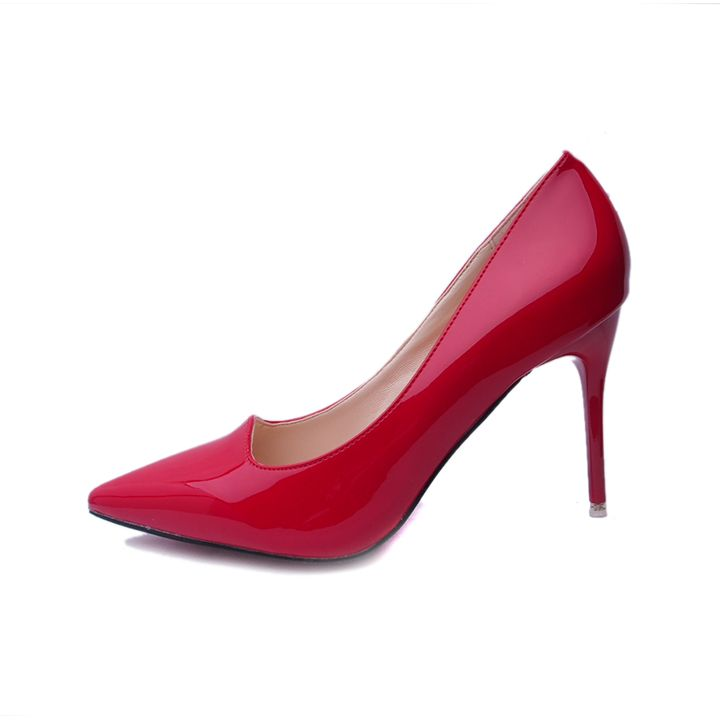 $31.85 include frieght fee High Quality Plain Patent Leather Red High Heels Spike Pumps Pointed Toe Ladies Dress Shoes vrouwen schoenen size 34-40 http://www.aliexpress.com/store/509282?spm=2114.12010108.0.48.tocgrg