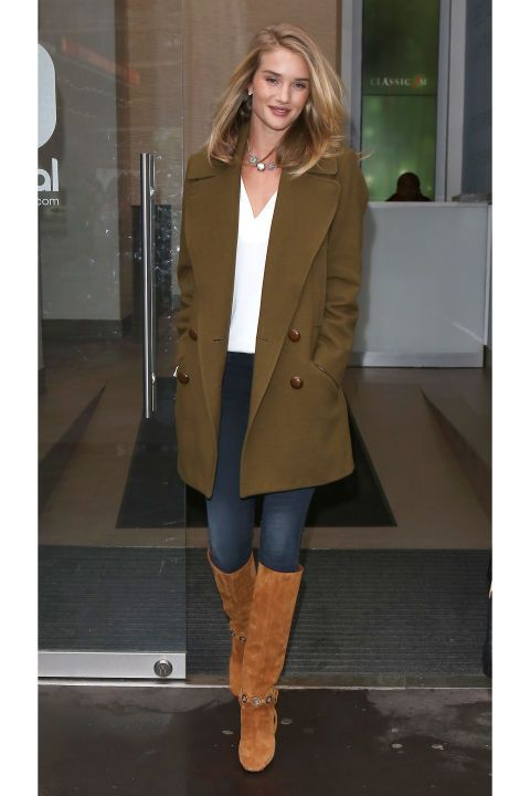 Pucci knee-high boots and military green pea coat.
