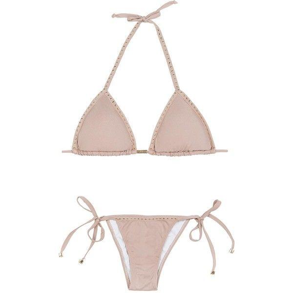 Ellis Beach Wear Women's swimwear Brazilian Bikini - Gold Drops ($100) ❤ liked on Polyvore featuring swimwear, bikinis, beige, bikini swimwear, triangle swim wear, bikini swim wear, brazilian bikini and tanga bikini