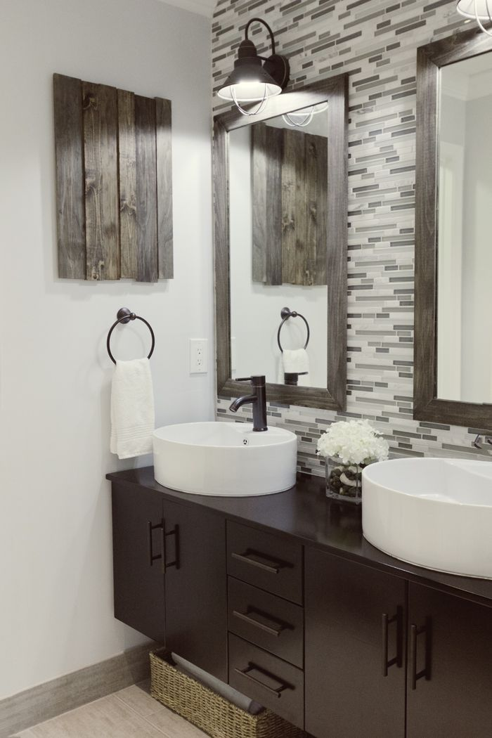 "love the mix of rustic woods and contemporary fixtures. ""Backsplash"" in the bathroom, neat idea"