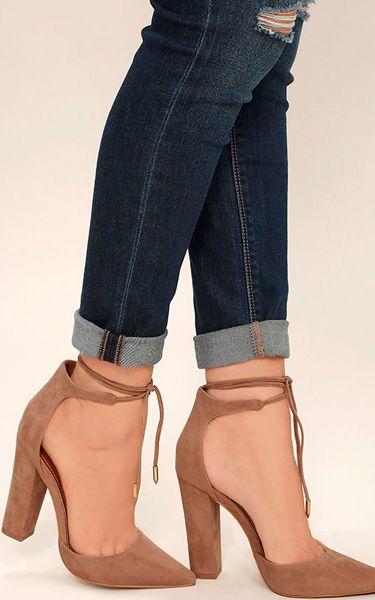 Angela Taupe Suede Lace-Up Heels via @bestchicfashion