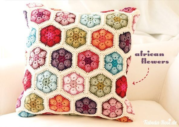 african flower cushion pastels - Google Search