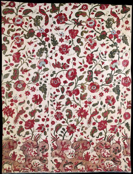 """Palampore"", 1680-1700 Coromandel Coast block printed w/ thickened dyes"