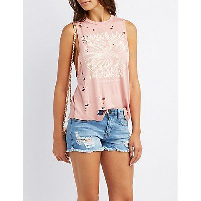 Pink Destroyed Graphic Tank Top - Size XL