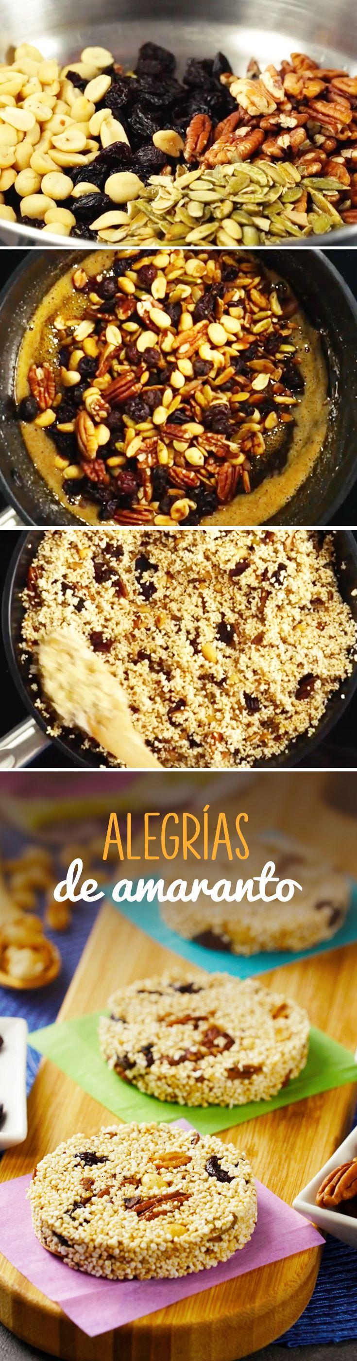 Alegrías de amaranto mexicanas fáciles de hacer en casa. Este dulce de amaranto con semillas y frutos secos es un postre saludable y ligero que podrás comer en #cuaresma o #pascua