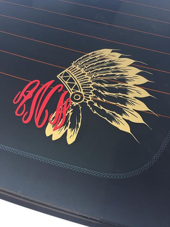 This Indian Chief Monogram is intricate and beautiful! This decal is made with high quality, outdoor vinyl. What to leave in the notes section at