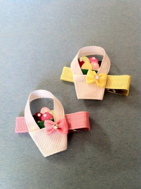 Easter Basket Ribbon Sculpture Hair Clip by SweetTangerineBoutiq, $4.00
