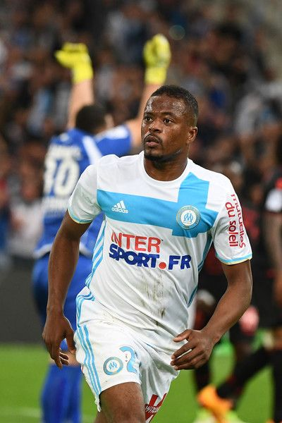 Olympique de Marseille French defender Patrice Evra celebrates after scoring the second goal during the French L1 football match between Olympique of Marseille (OM) and Nice at the Velodrome stadium in Marseille, on May 7, 2017. / AFP PHOTO / BORIS HORVAT