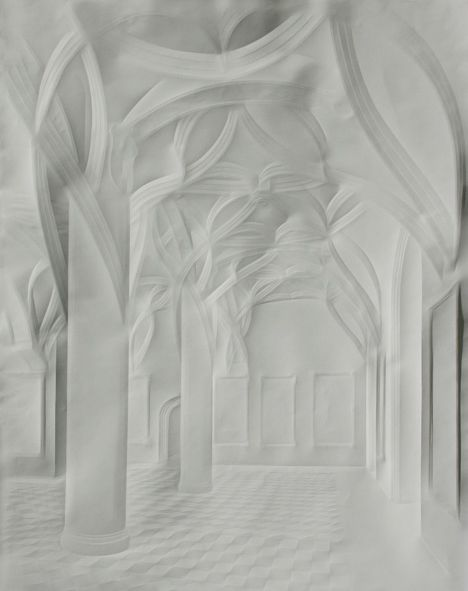 Ghostly Paper Mansions. Produced only by folding the paper – millimeter-scale differences catch and reflect light, creating the illusion of subtle line drawings via implied outlines.