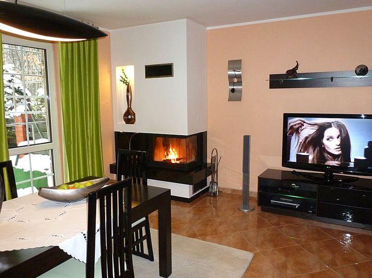 Modern fireplace in the living room. Kominek nowoczesny w salonie. #Fireplace #LivingRoom #Kominek #Nowoczesny