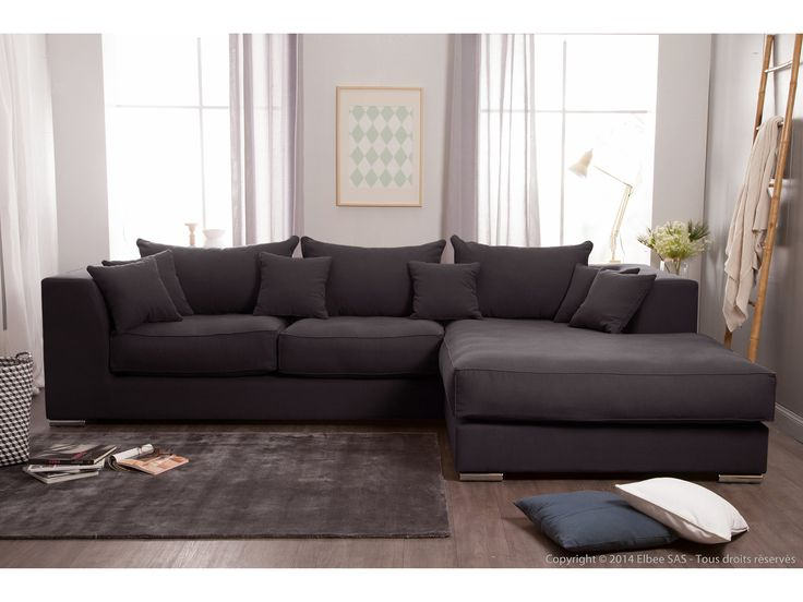 Canapé d'angle en coton et lin déhoussable EDWARD Anthracite, Droit
