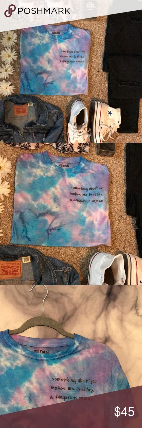 Handmade x Ariana Grande tye dye tee Don't need permission. I have made my decision that something about you makes me feel like dangerous women. Ariana Grande inspired handmade tye dye tee! Match this top with a Levi jean jacket to highlight those darker streaks, black high waisted Urban Outfitters skinny jeans, PINK palm tree bra underneath, and white basic high top Converse! Feel like a dangerous women yet? 🌷🌷🌷 Size: small. Tops Tees - Short Sleeve